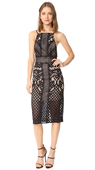 Keepsake Bridges Lace Midi Dress - Black