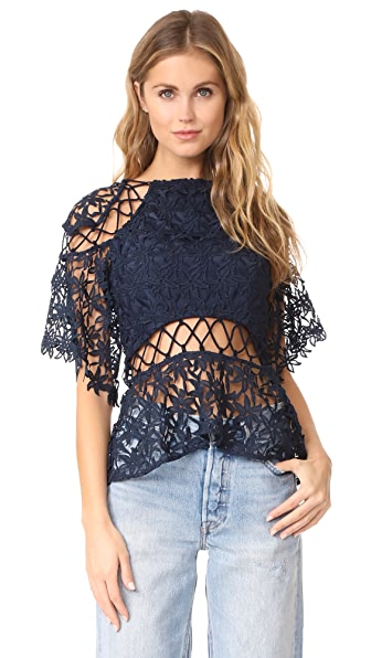 Keepsake Stay Close Lace Top In Navy