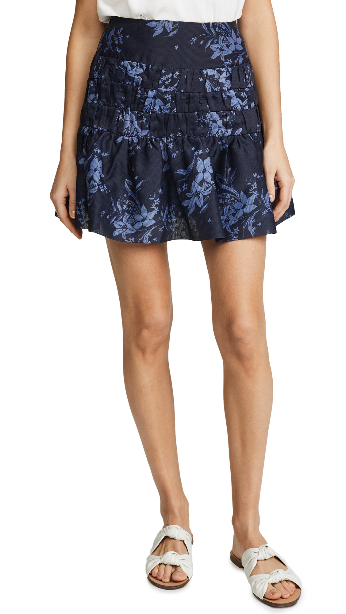 Keepsake Stand Tall Skirt In Navy Stencil Floral