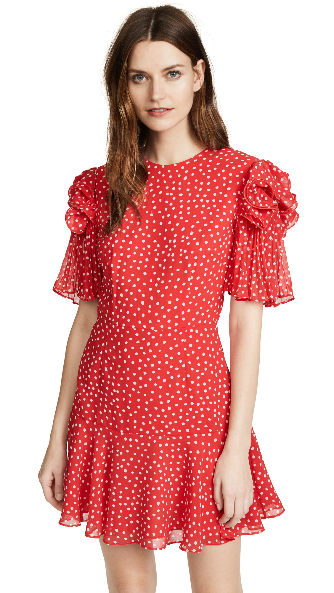 Keepsake Moonshine Dress In Red With Ivory Spot