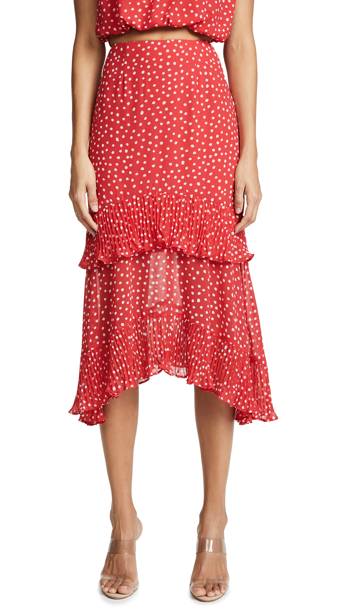 Keepsake Moonshine Skirt In Red With Ivory Spot
