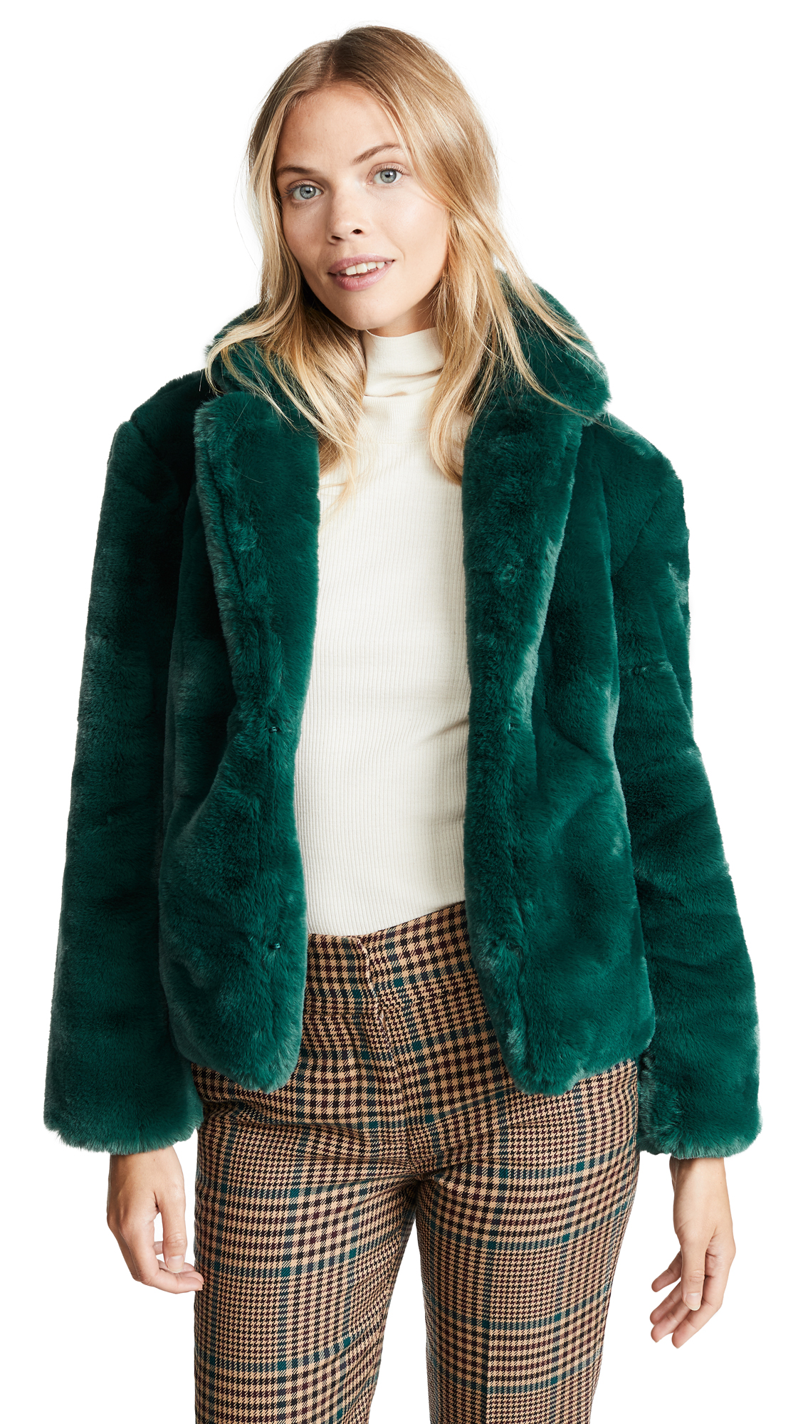 Keepsake Stay With Me Faux Fur Coat In Emerald