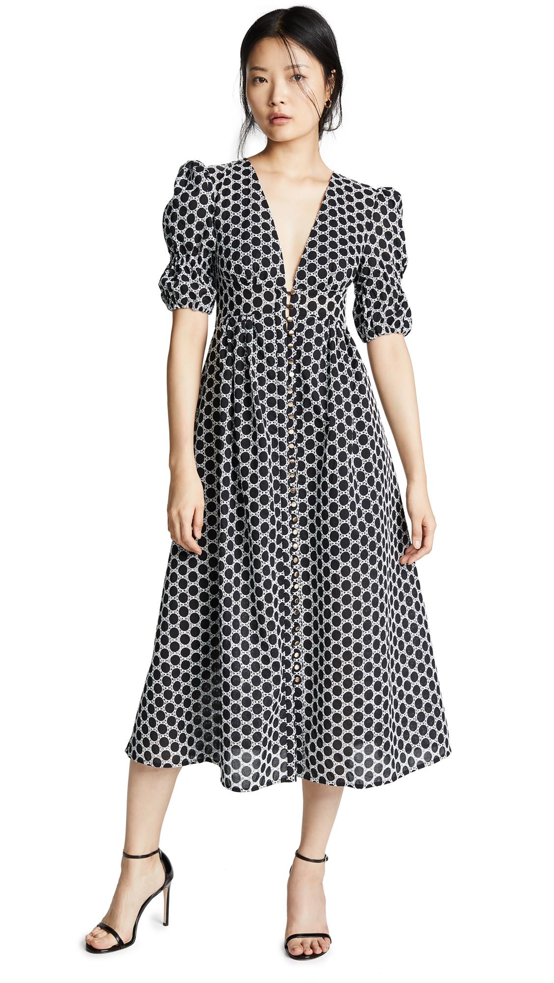 Keepsake Belong Midi Dress - Black With Ivory Polka Dot