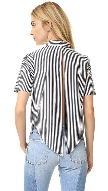 KENDALL + KYLIE Short Sleeve Open Back Blouse