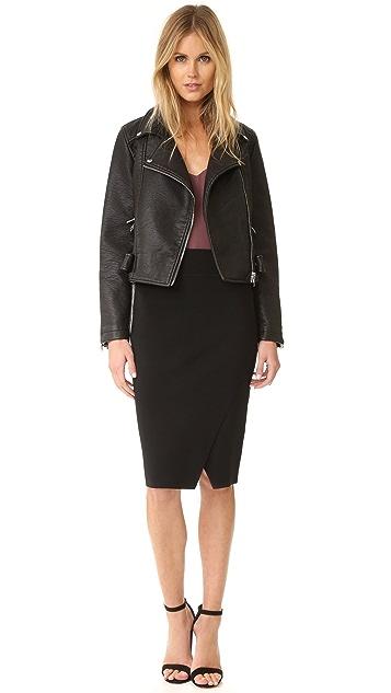 KENDALL + KYLIE Compact Overlap Pencil Skirt