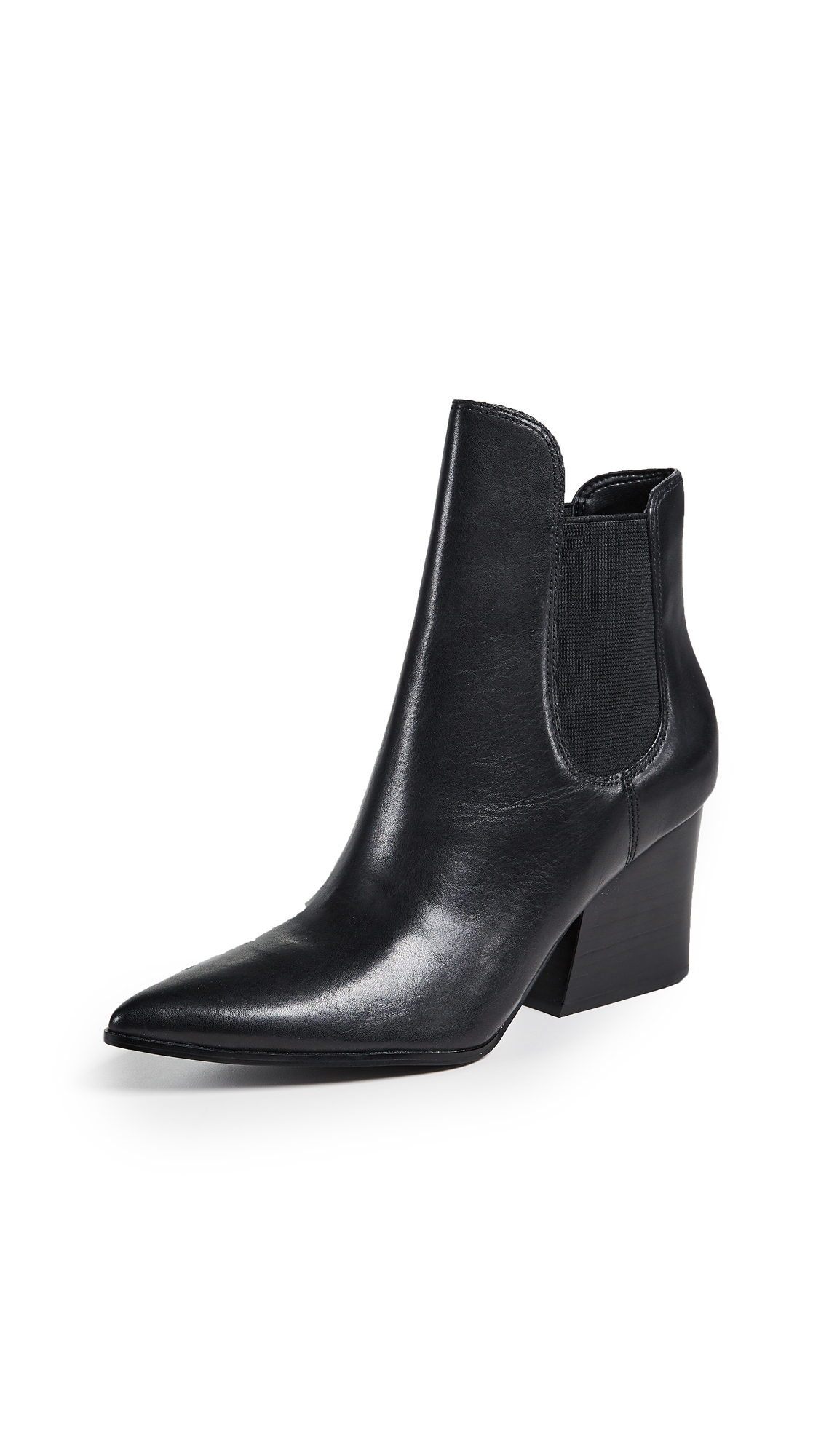 KENDALL + KYLIE Finley Leather Booties - Black
