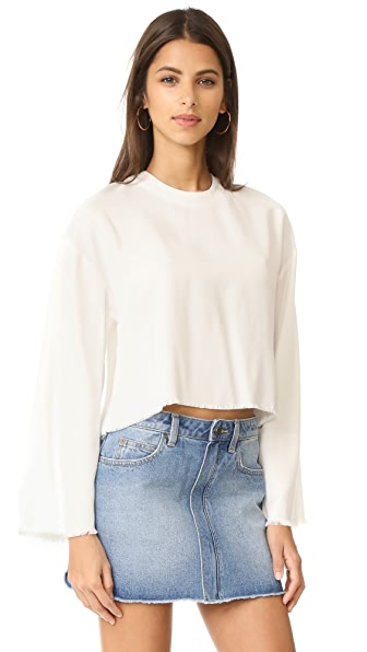 KENDALL + KYLIE Frayed Twill Pullover - Bright White