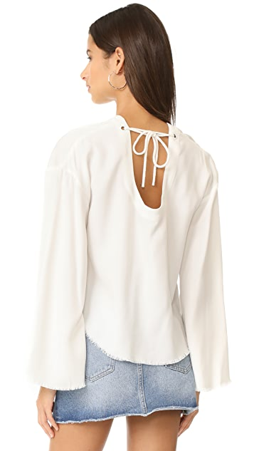 KENDALL + KYLIE Frayed Twill Pullover