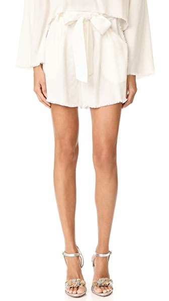 KENDALL + KYLIE Frayed Twill Shorts - Bright White