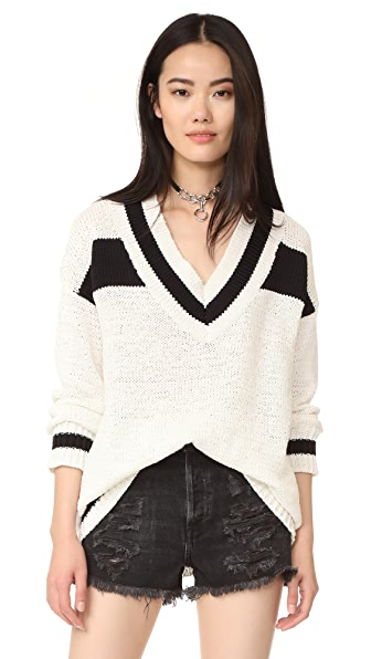KENDALL + KYLIE V Neck Rugby Sweater - Bright White