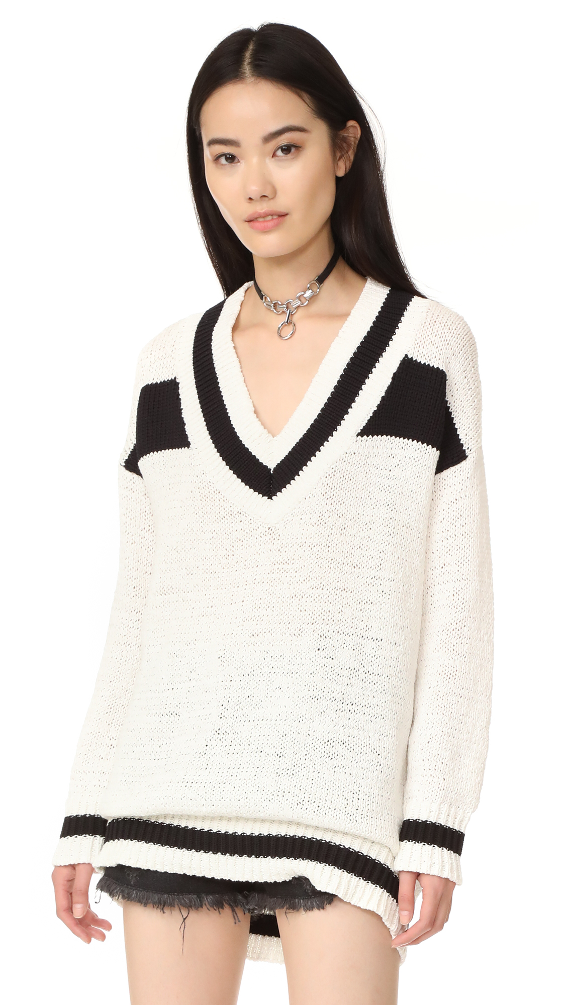 KENDALL + KYLIE V Neck Rugby Sweater  e7d209432