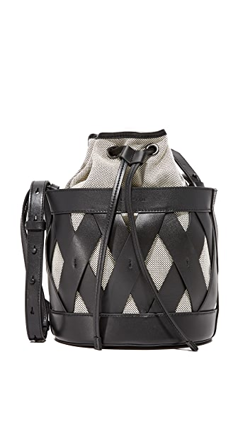 KENDALL + KYLIE Mia Bucket Bag - Black/White