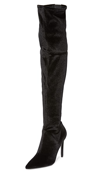 KENDALL + KYLIE Ayla II Velvet Thigh High Boots - Black Velvet