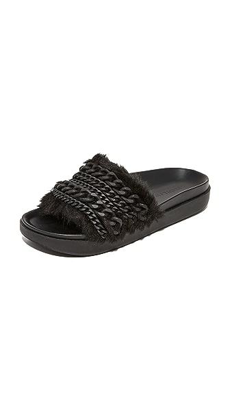 KENDALL + KYLIE Sammy Faux Fur Embellished Slides - Black/Matte Black