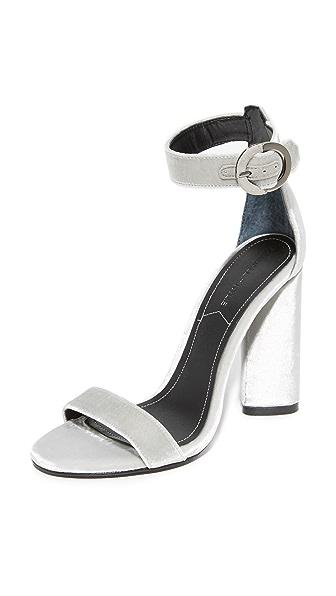 KENDALL + KYLIE Giselle Velvet Sandals In Silver