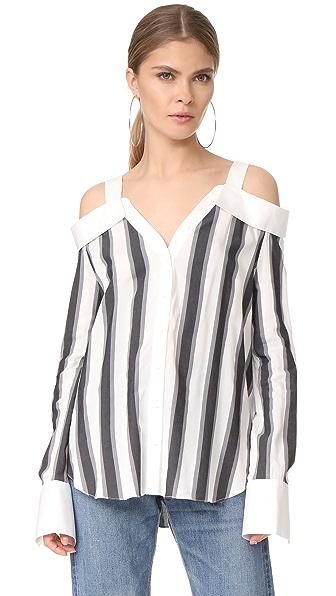 KENDALL + KYLIE Stripe Off Shoulder Shirt - White/Grey
