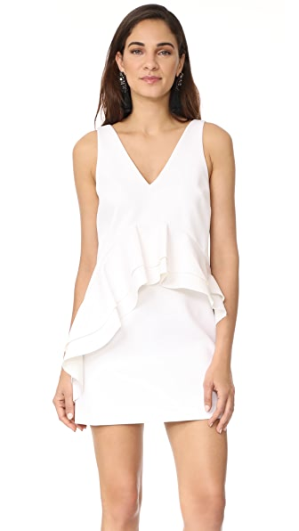 KENDALL + KYLIE Ruffle Double V Dress - Bright White