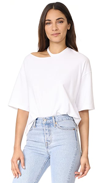 KENDALL + KYLIE Distressed Boxy Tee - Bright White