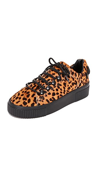 KENDALL + KYLIE Rae IV Leopard Sneakers In Tan Multi/Black
