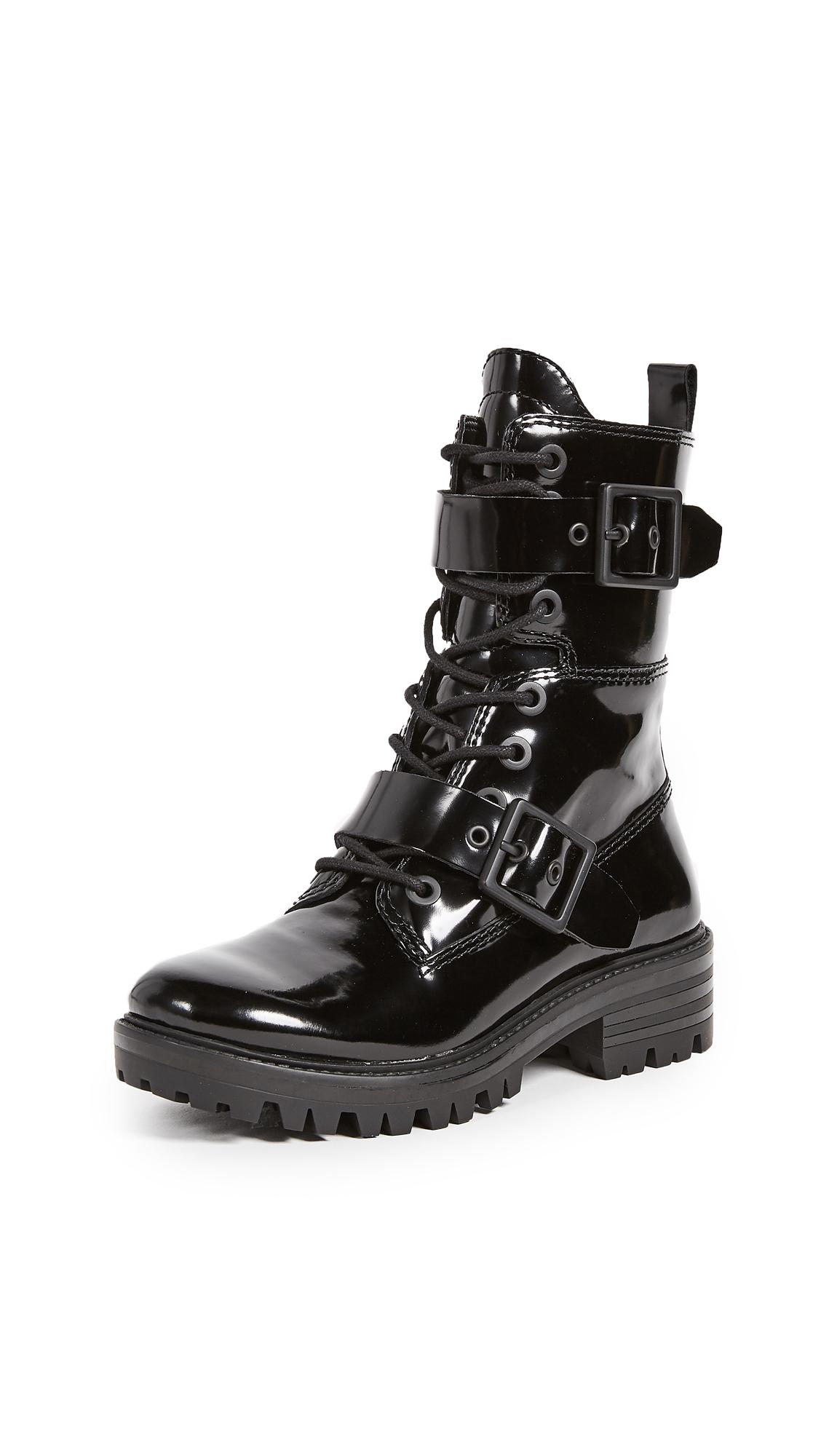 KENDALL + KYLIE Eliya Buckle Combat Boots - Black