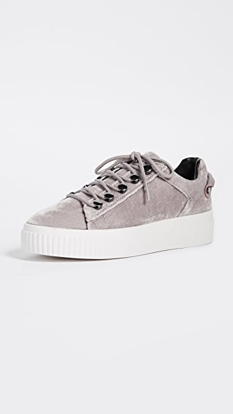 KENDALL + KYLIE Rae Velvet Platform Sneakers - Grey