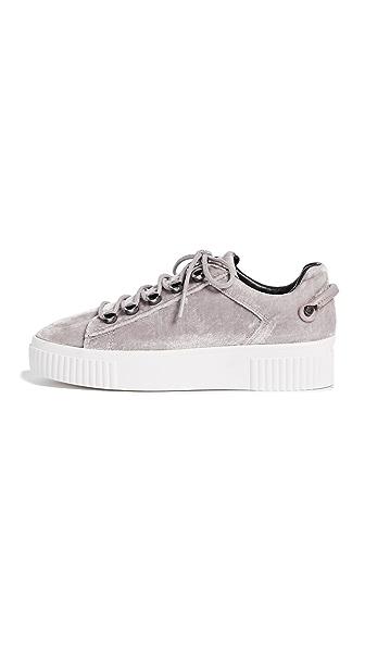 KENDALL + KYLIE Rae Velvet Platform Sneakers In Grey