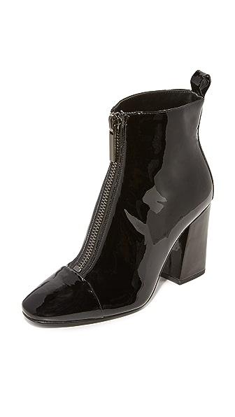 KENDALL + KYLIE Raquel Patent Zip Up Booties In Black