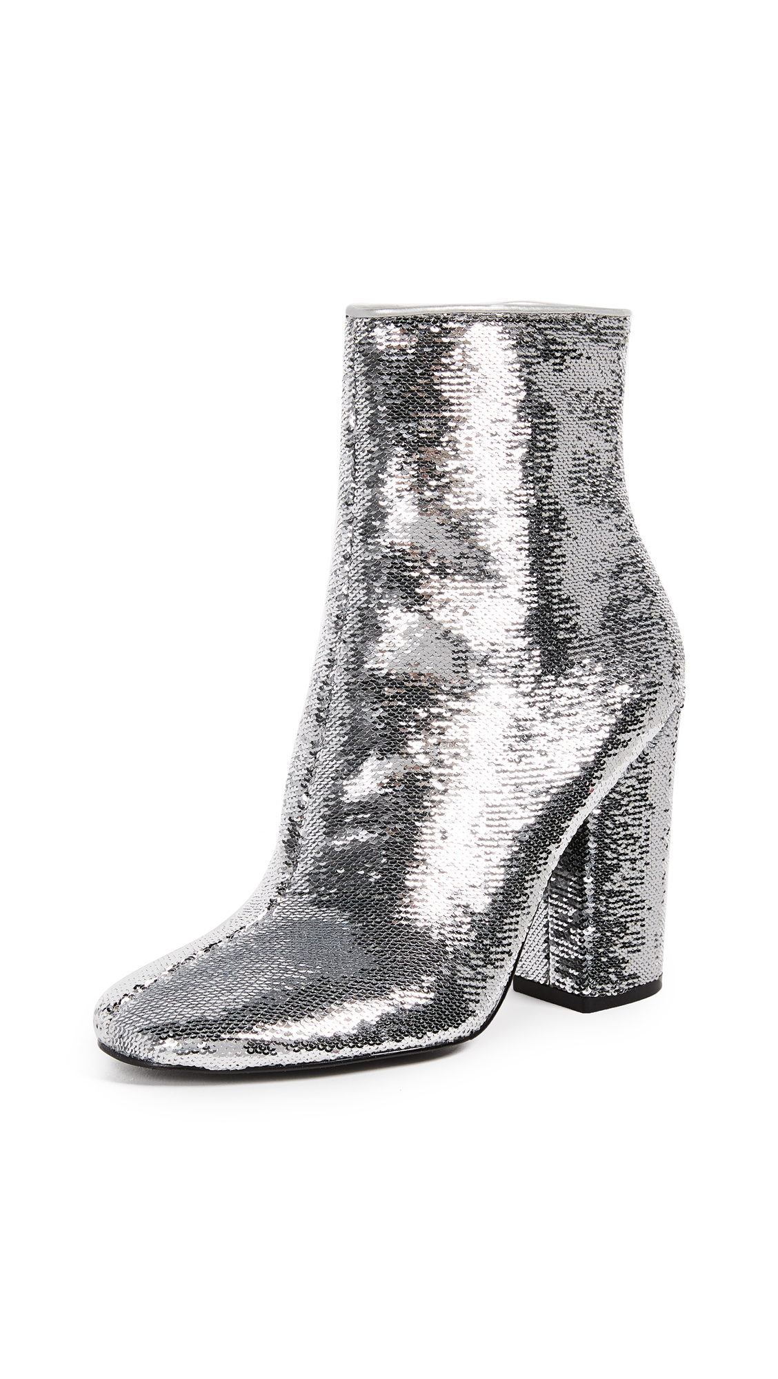 KENDALL + KYLIE Haedyn Block Heel Ankle Boots - Silver