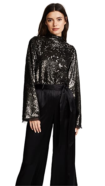 KENDALL + KYLIE Sequin Mock Neck Top