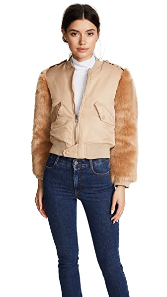 KENDALL + KYLIE Faux Fur Bomber Jacket In Nude