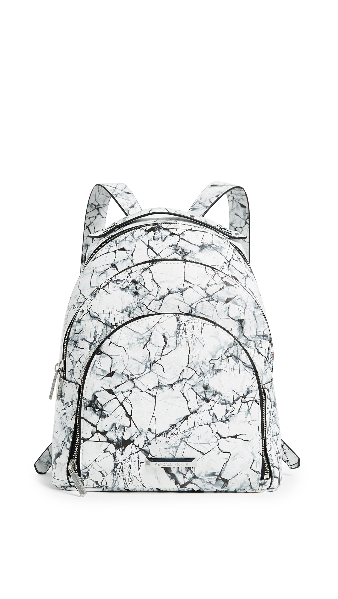 KENDALL + KYLIE Sloane Marble Backpack - White Marble