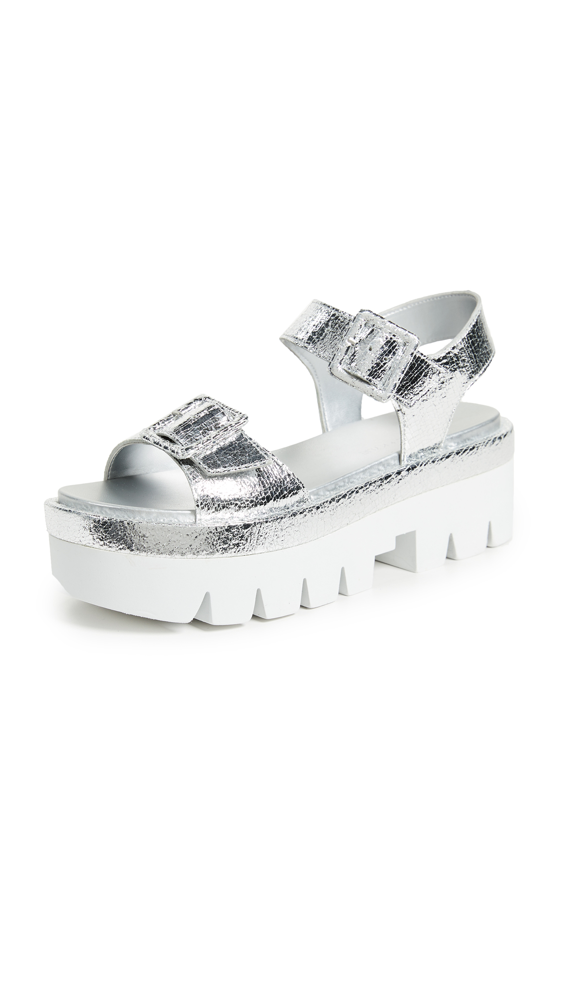 KENDALL + KYLIE Wave Platform Sandals - Silver