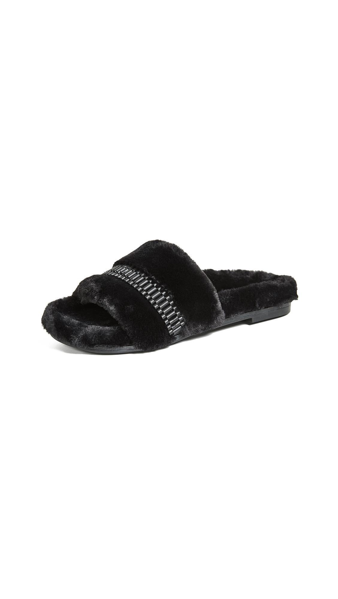 Kendall+Kylie Embellished Faux Fur Slides - Black, Black/Nickel