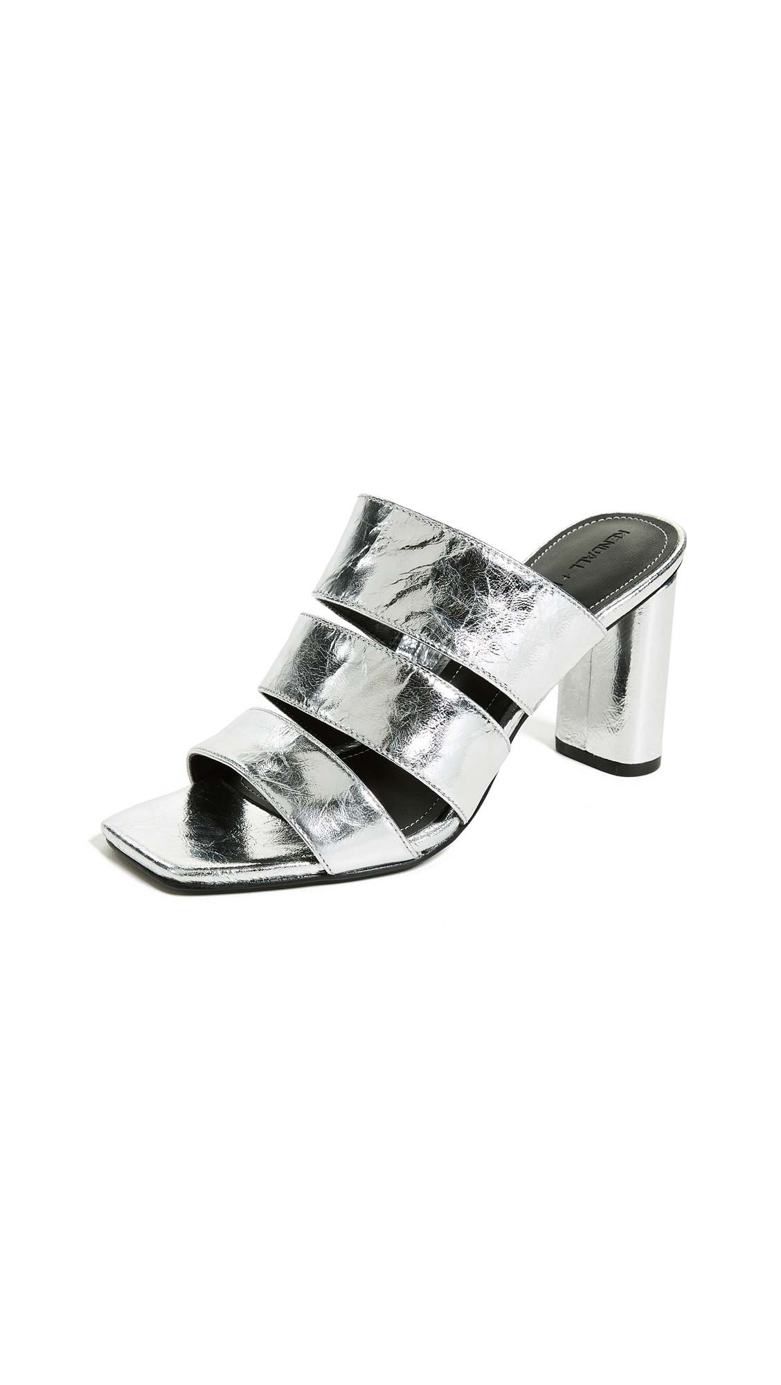 Metallic Leather Sandals, Silver