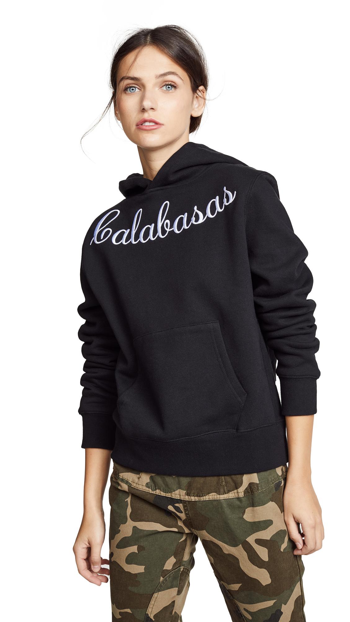KENDALL + KYLIE Embroidered Oversize Fleece Sweatshirt In Calabasas Black