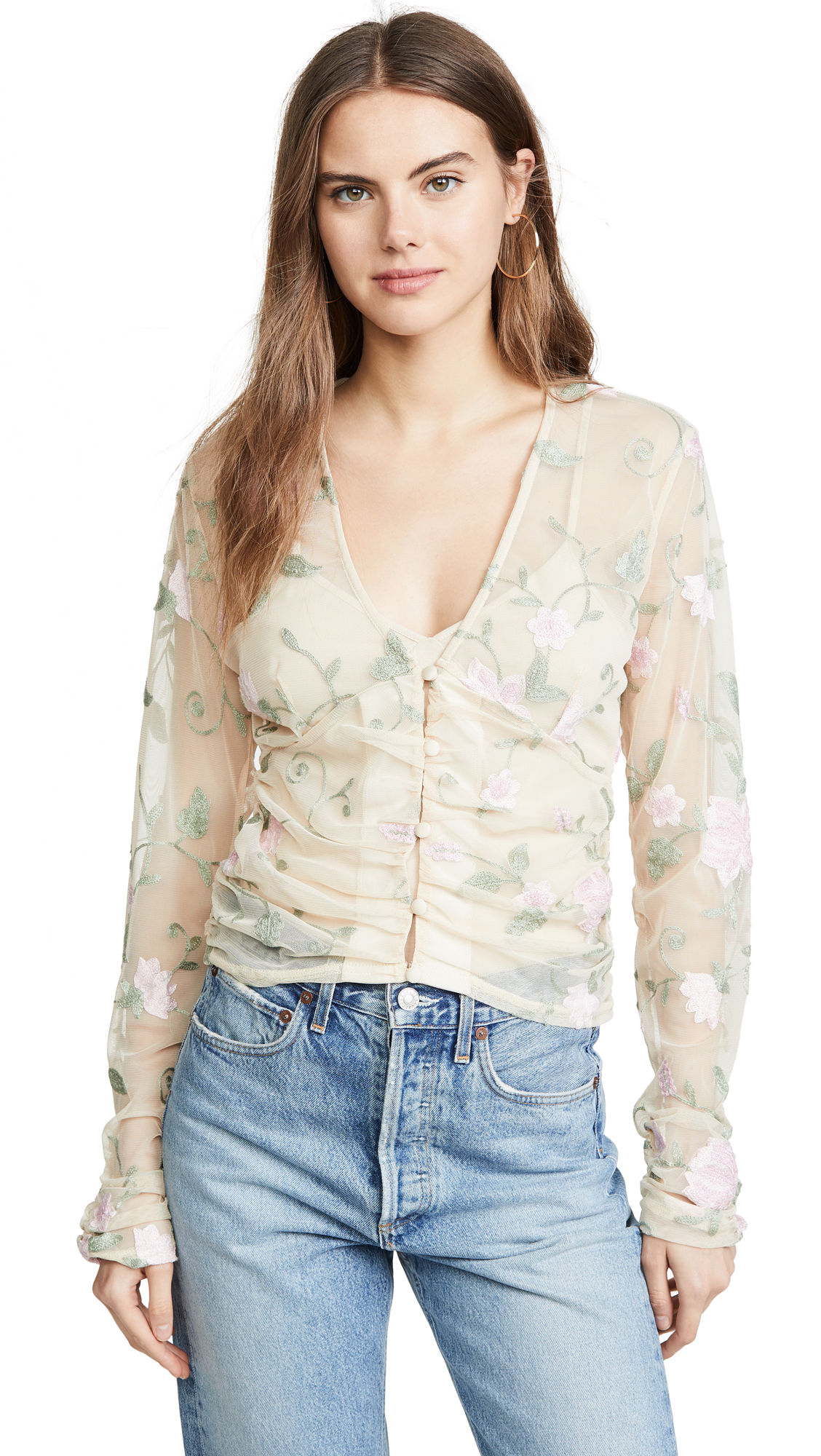Buy KENDALL + KYLIE online - photo of KENDALL + KYLIE Long Sleeve Romance Top