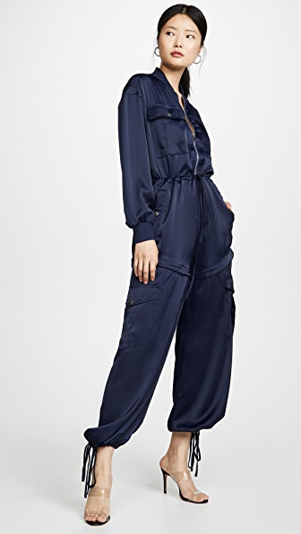 Kendall + Kylie Cargo Long Sleeve Convertible Satin Jumpsuit In Navy