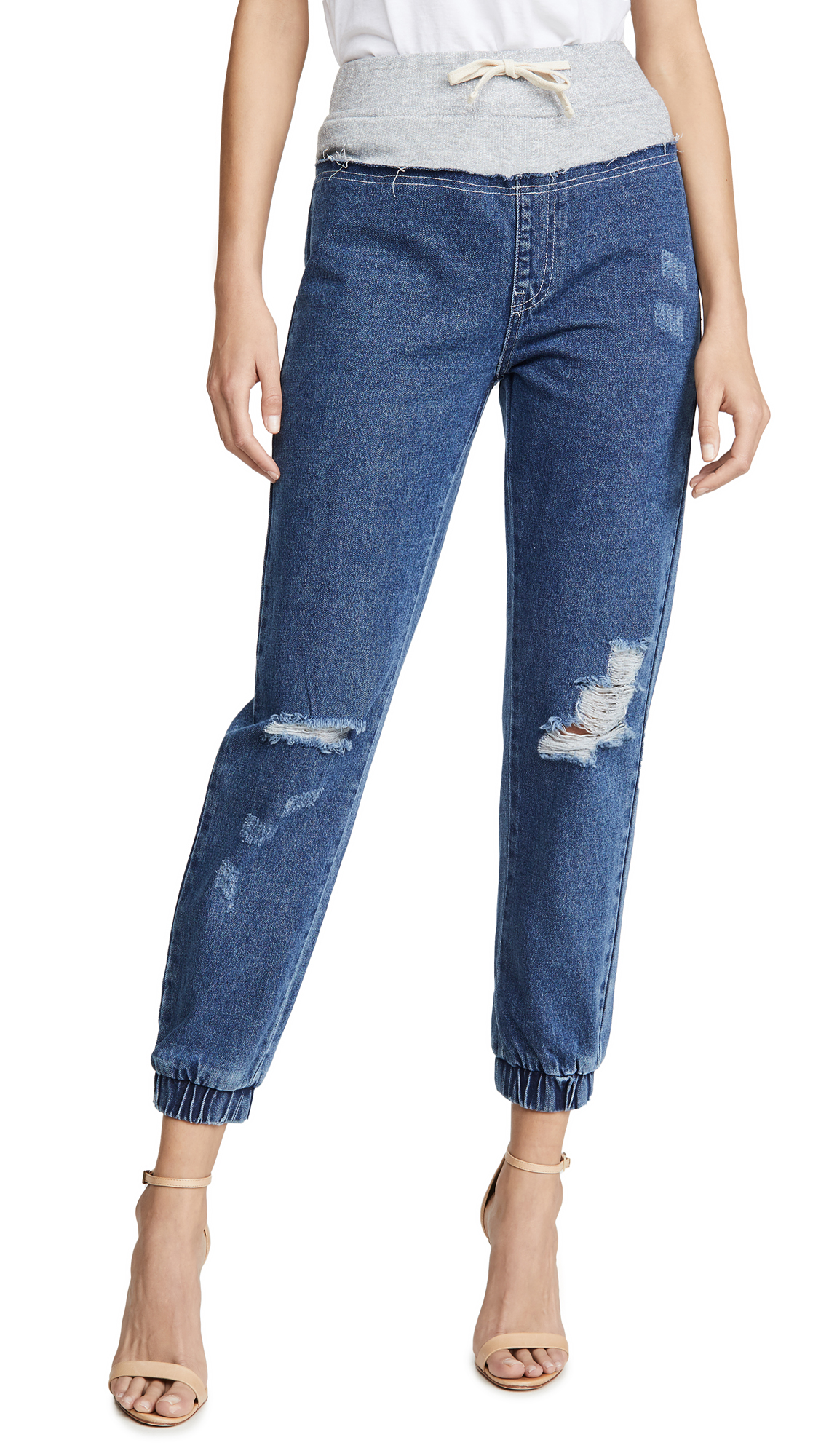 Kendall + Kylie French Terry Yoke Jeans In Medium Wash