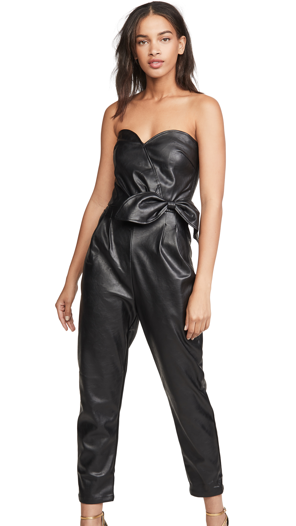 Buy KENDALL + KYLIE online - photo of KENDALL + KYLIE Bianca Vegan Leather Jumpsuit