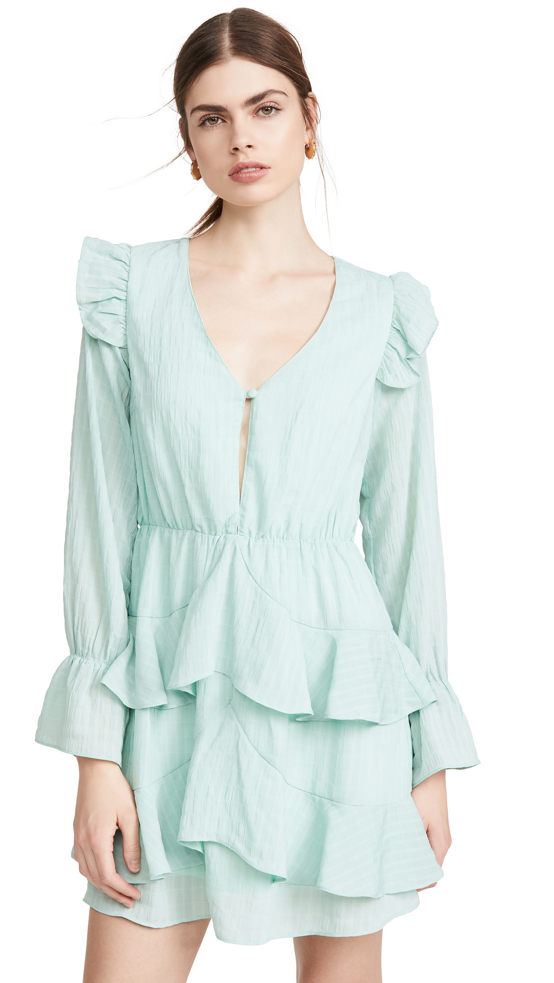 KENDALL + KYLIE Gauze V Neck Ruffle Dress - 30% Off Sale