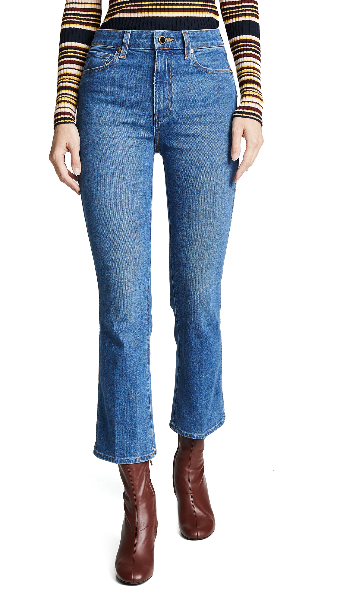 Buy Khaite online - photo of Khaite Benny Crop Flare Jeans
