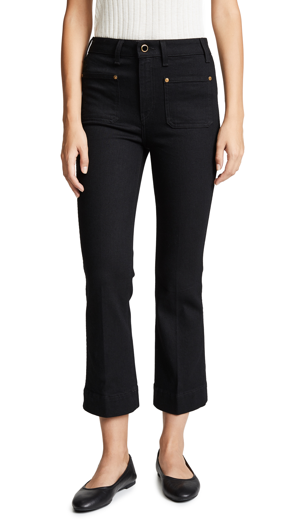 Khaite Raquel Patch Pocket Cropped Flare Jeans In Black Rinse