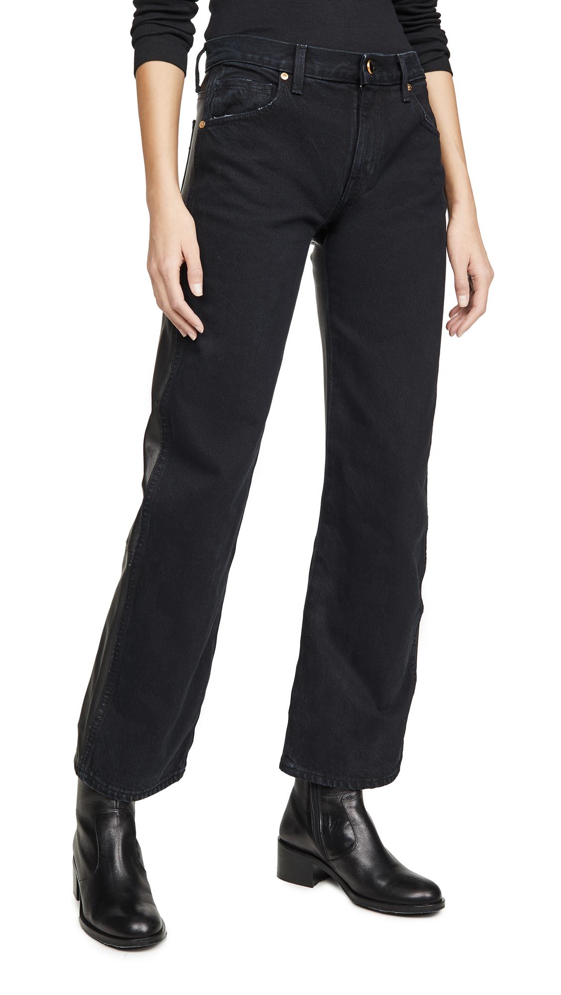 Buy Khaite online - photo of Khaite Kerrie Jeans with Leather Combo