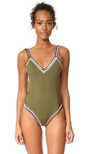 Kiini Wren Scoop Back Maillot - Olive/Multi