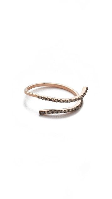Kismet by Milka 2 Row 14k Gold Pinky Ring