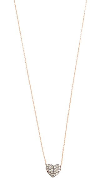 Kismet by Milka 14k Rose Gold Tiny Folded Heart Necklace - Rose Gold/Champagne