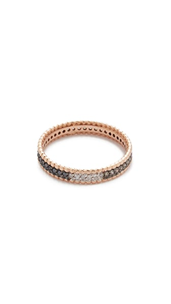 Kismet by Milka 14k Gold Tricolor Diamond Eternity Ring - Rose Gold/Clear/Black