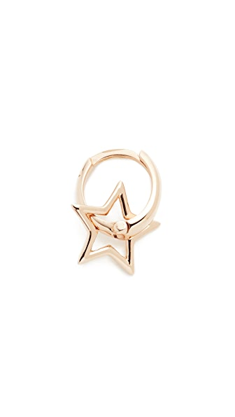Kismet by Milka 14k Gold Sheriff Star Hoop Single Earring - Rose Gold