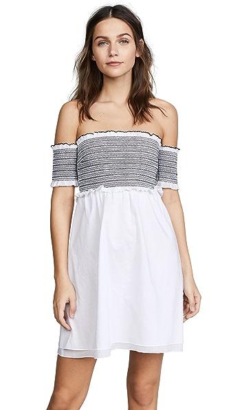 KISUII Aya Smocked Cotton Tunic Top - White/Black Size Xs