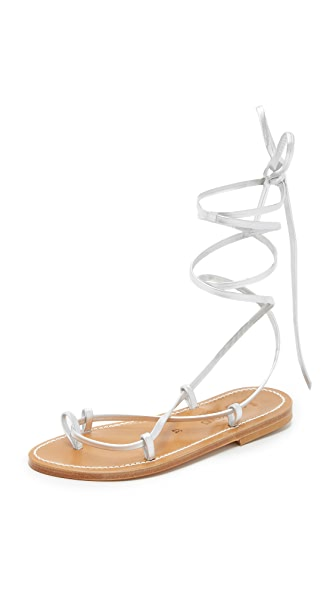 K. Jacques Bikini Wrap Gladiator Sandals - Lame Argent